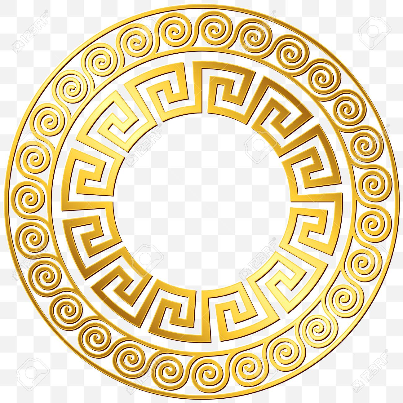 41eb8ee15739 Round Frame With Traditional Vintage Golden Greek Ornament