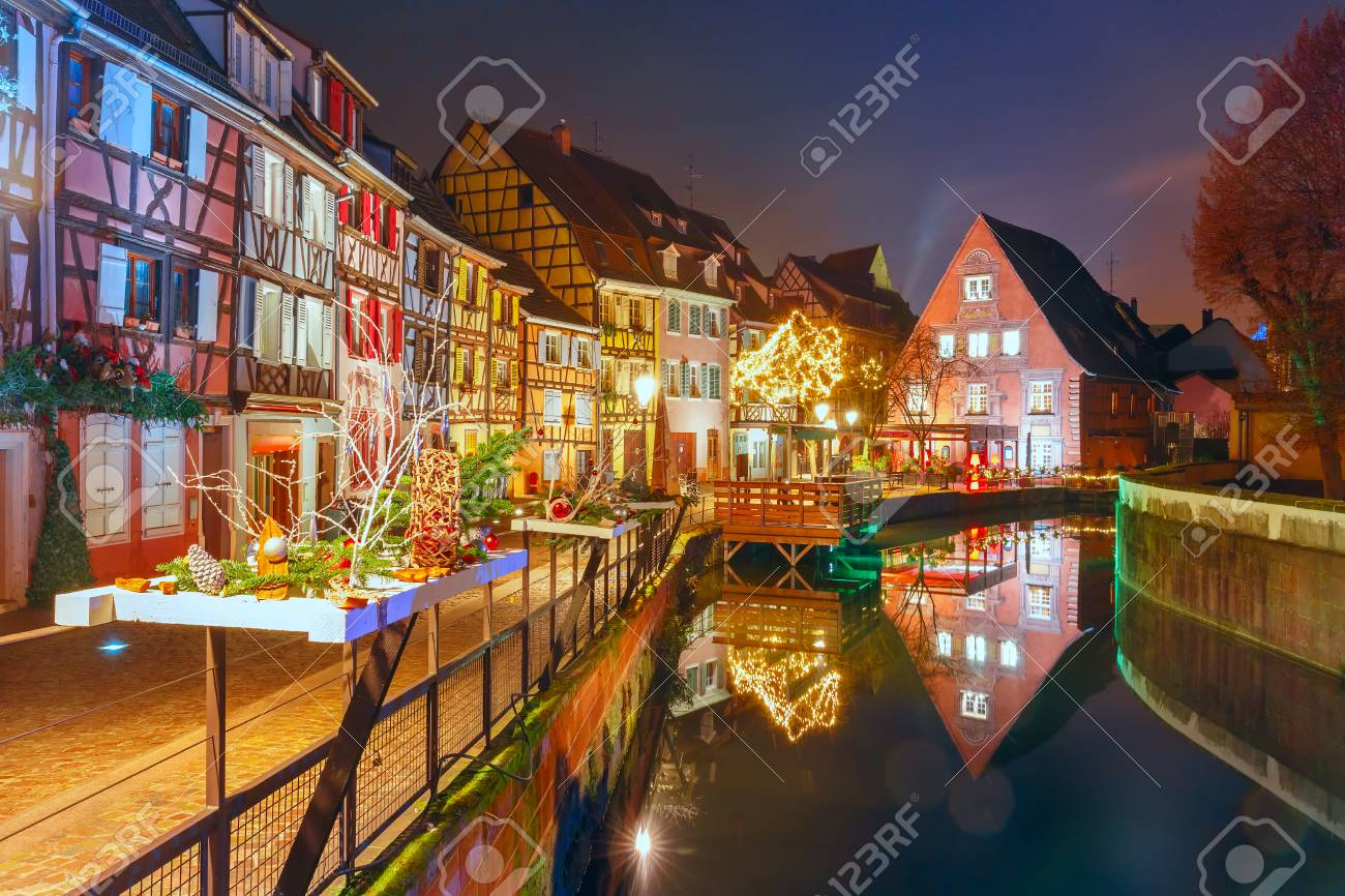 Traditional Alsatian Half Timbered Houses In Petite Venise Or