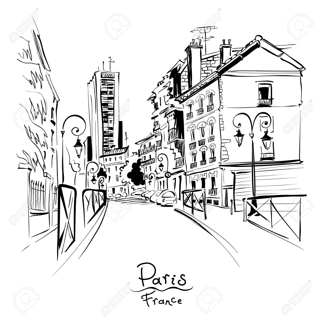 Vector Black And White Hand Drawing Paris Street With Traditional Royalty Free Cliparts Vectors And Stock Illustration Image 101624424