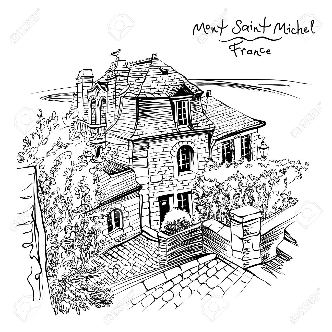 black and white drawing a traditional breton house inside the Rome Homes black and white drawing a traditional breton house inside the walls of mont saint