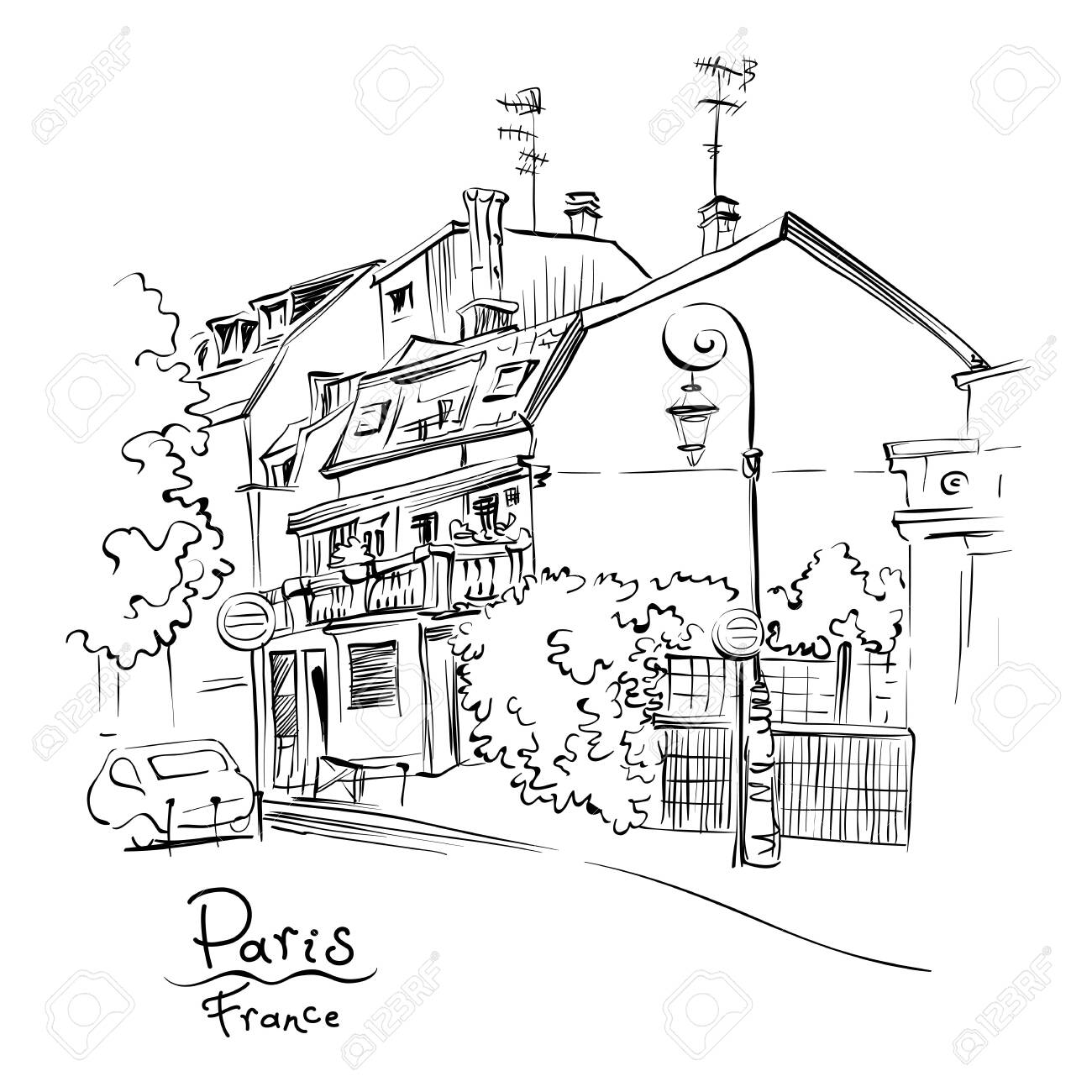 Vector Black And White Hand Drawing Paris Street With Traditional Royalty Free Cliparts Vectors And Stock Illustration Image 124353548