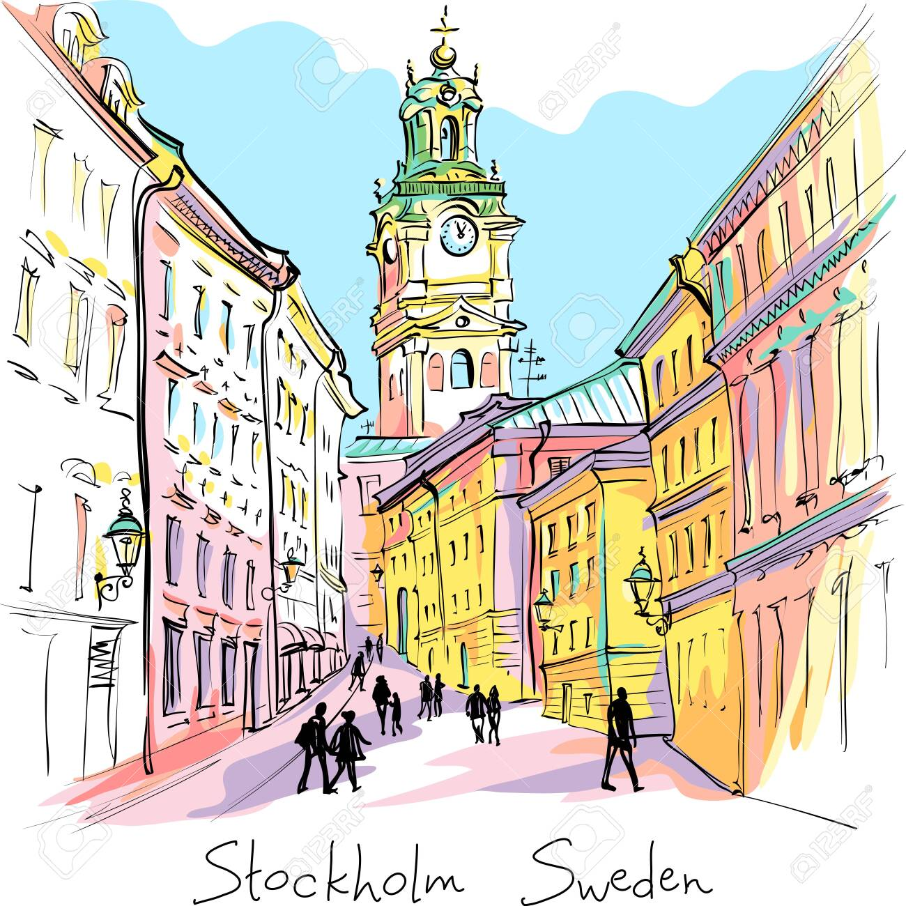 Vector sketch of Church of St Nicholas, Stockholm Cathedral or Storkyrkan at night, Gamla Stan in Old Town of Stockholm, the capital of Sweden - 132726549