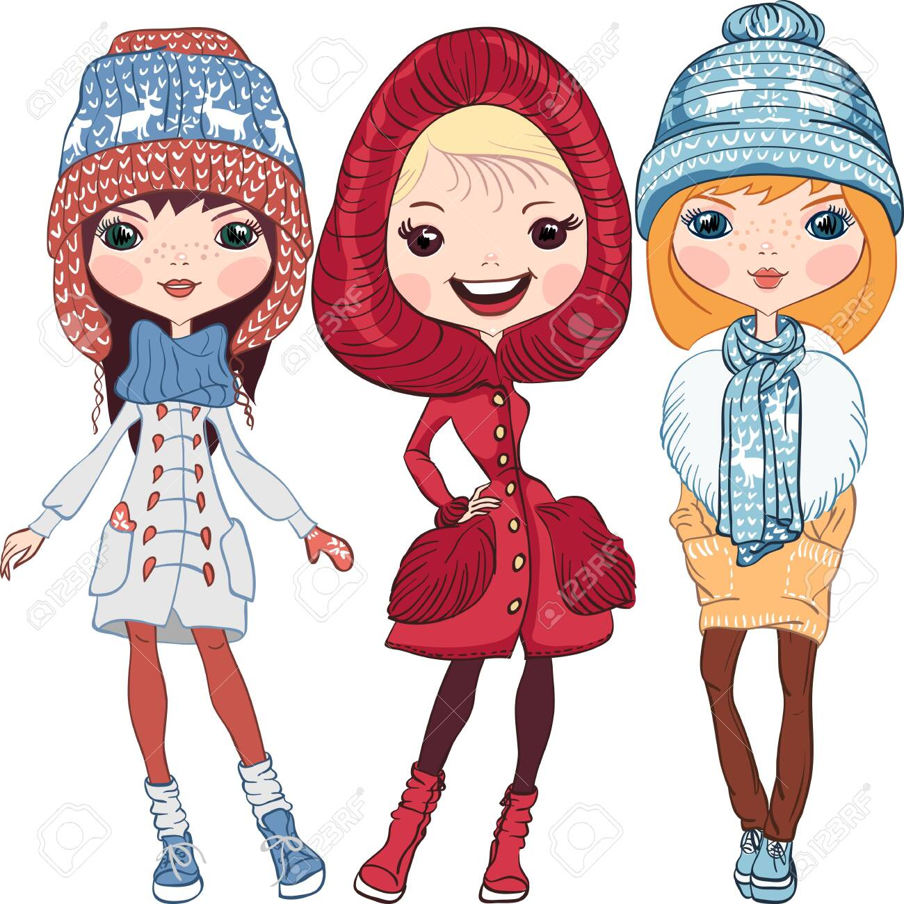 Set of fashion hipster girl in a coat, knitted hats, scarves and mittens in winter - 156839474