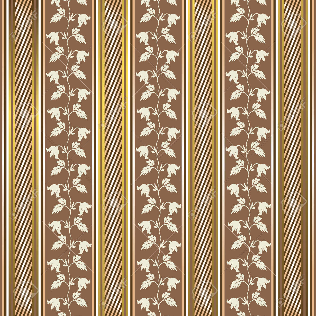 Striped decorative background in coffee and golden tones Stock Vector - 4320557