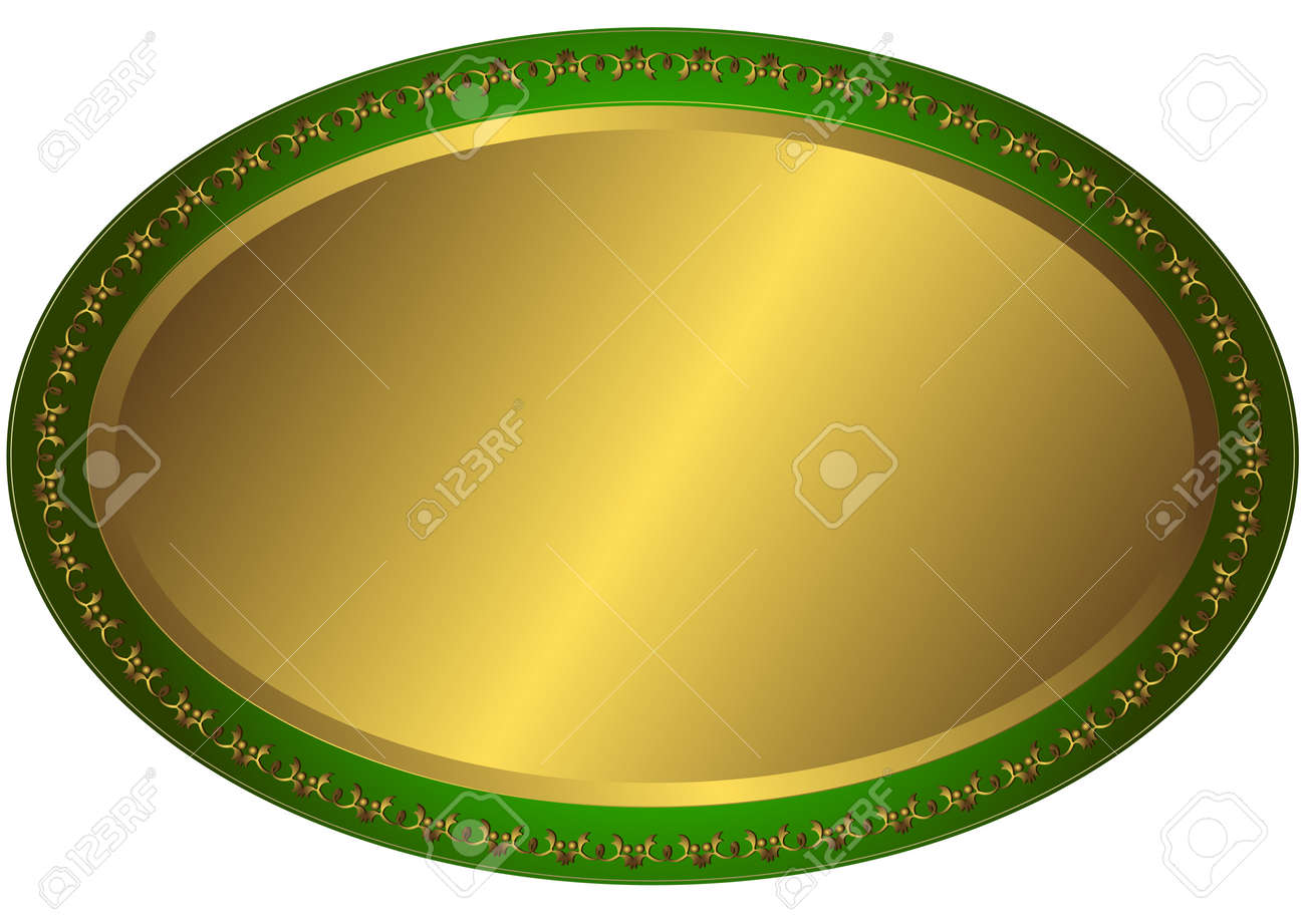 Oval metal volumetric plate with vintage an ornament on edges Stock Vector - 4480347