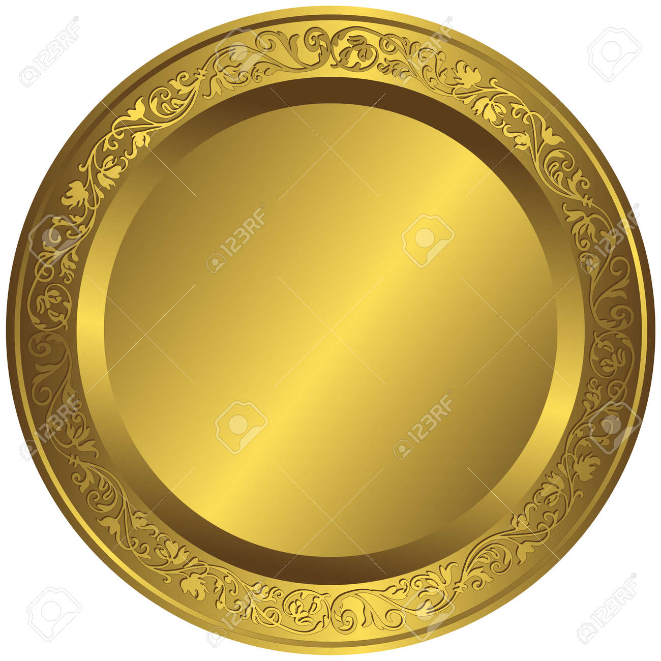 Old-fashioned golden plate with vintage ornament Stock Vector - 4647539