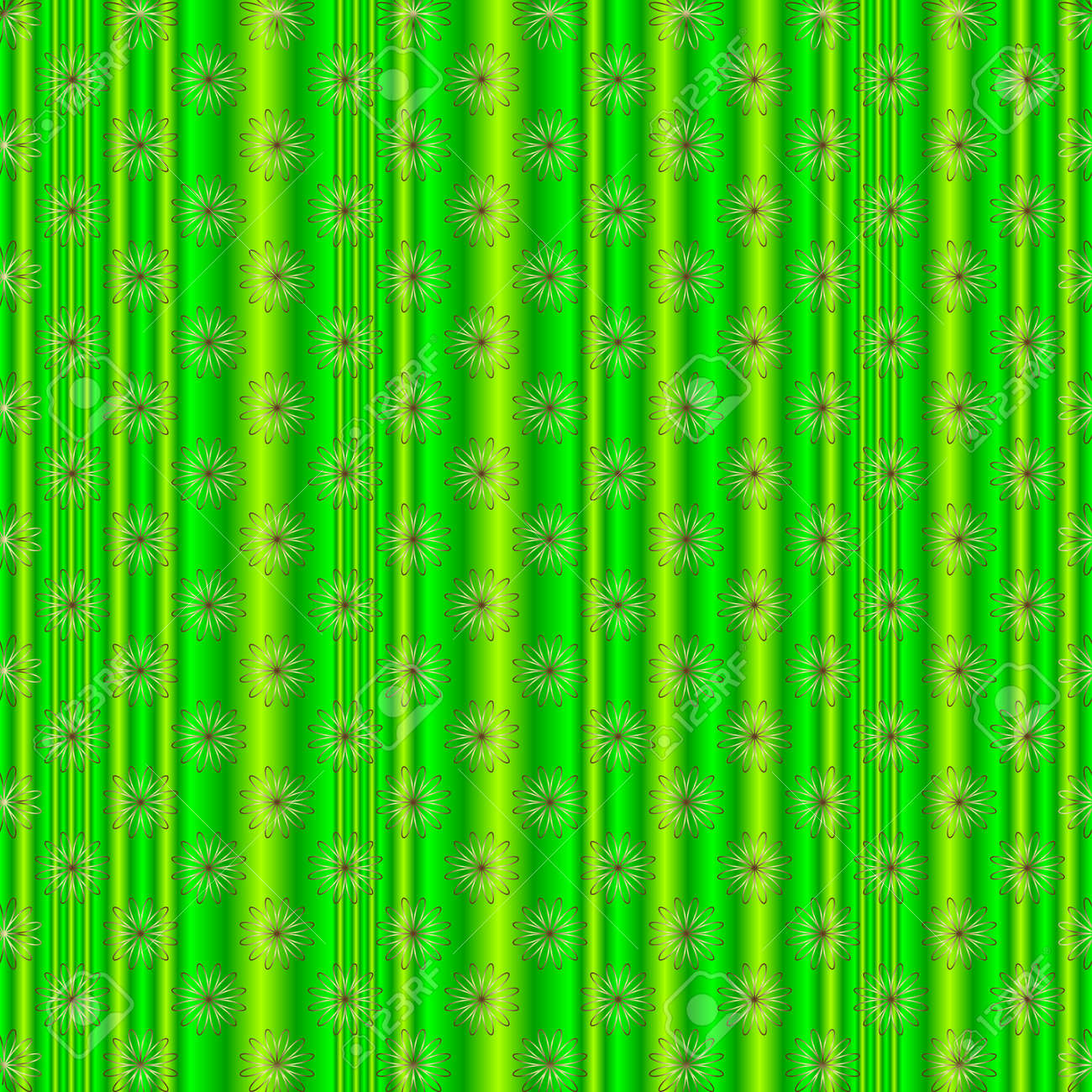 Green striped floral background Stock Vector - 4665819