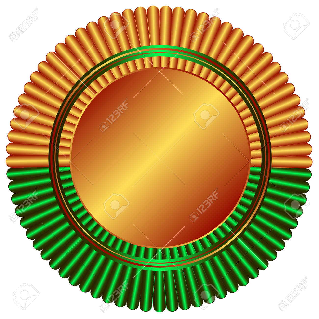 Bronze medal with green ribbon on white background Stock Vector - 4797765