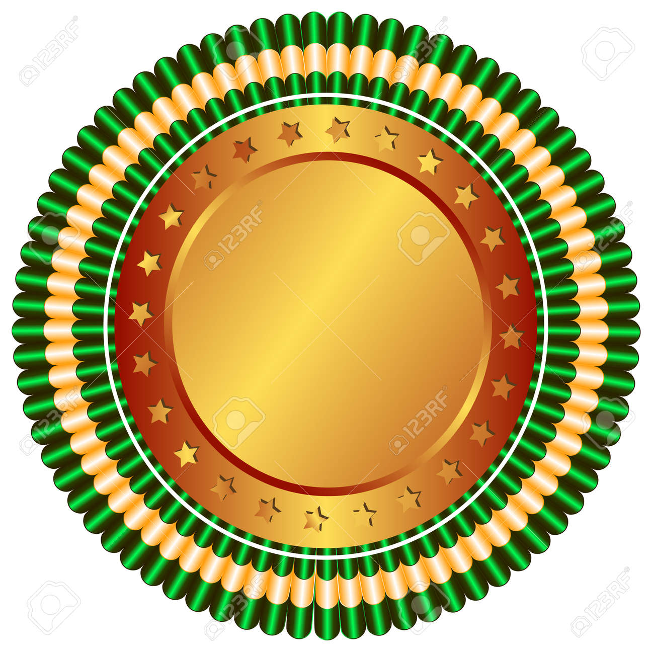Big bronze medal with stars and green ribbons Stock Vector - 4862420