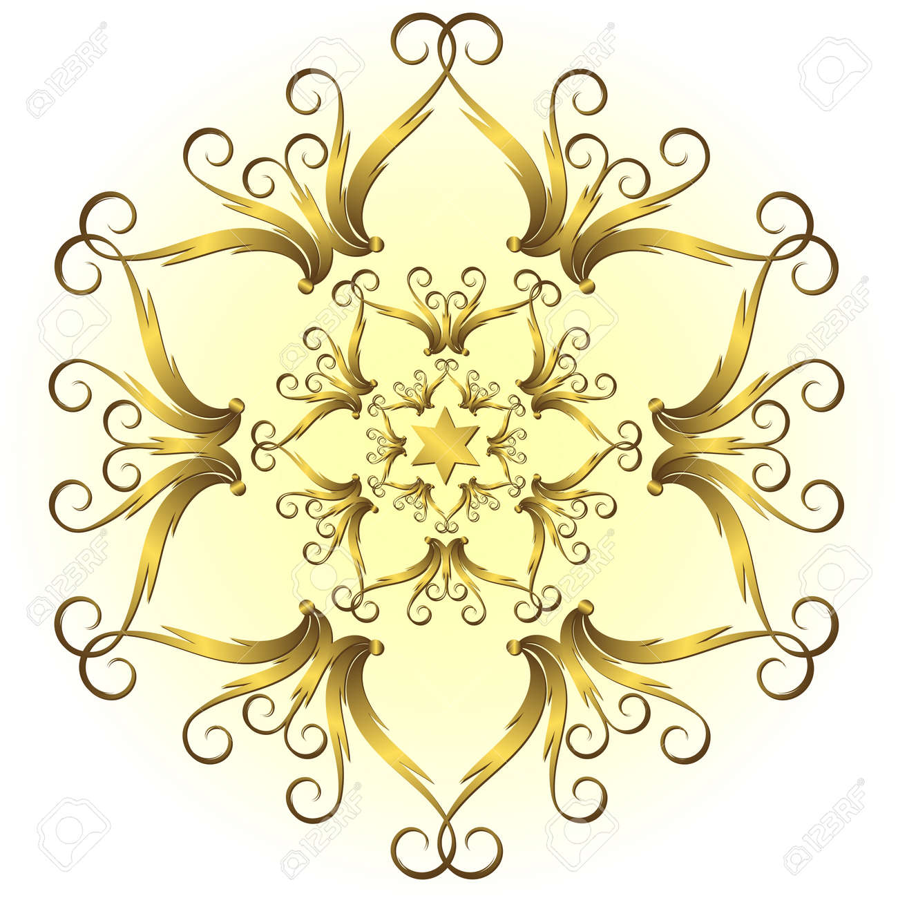 Golden vintage snowflake Stock Vector - 5806246