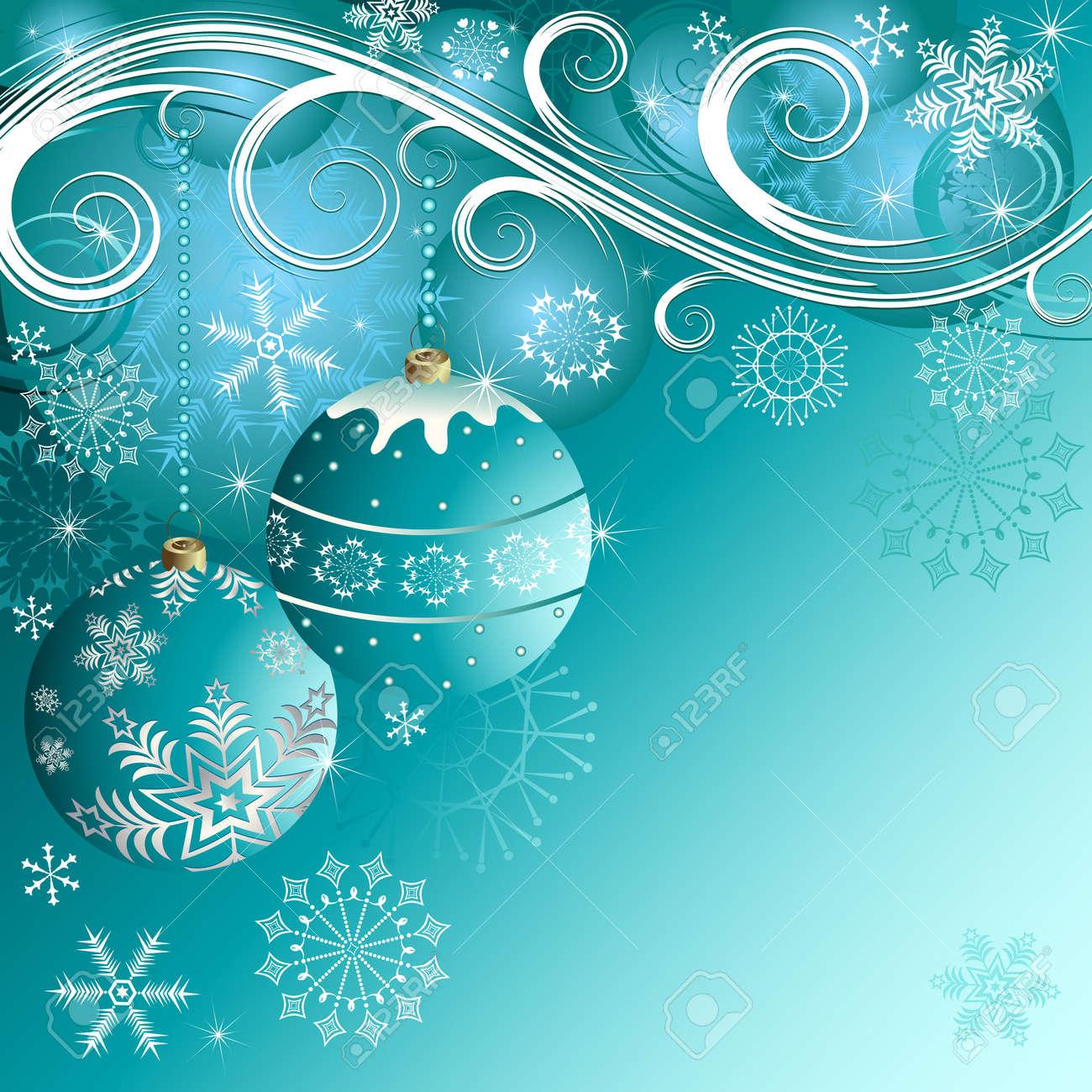 fondo decorativos de navidad azul con bolas vector foto de archivo