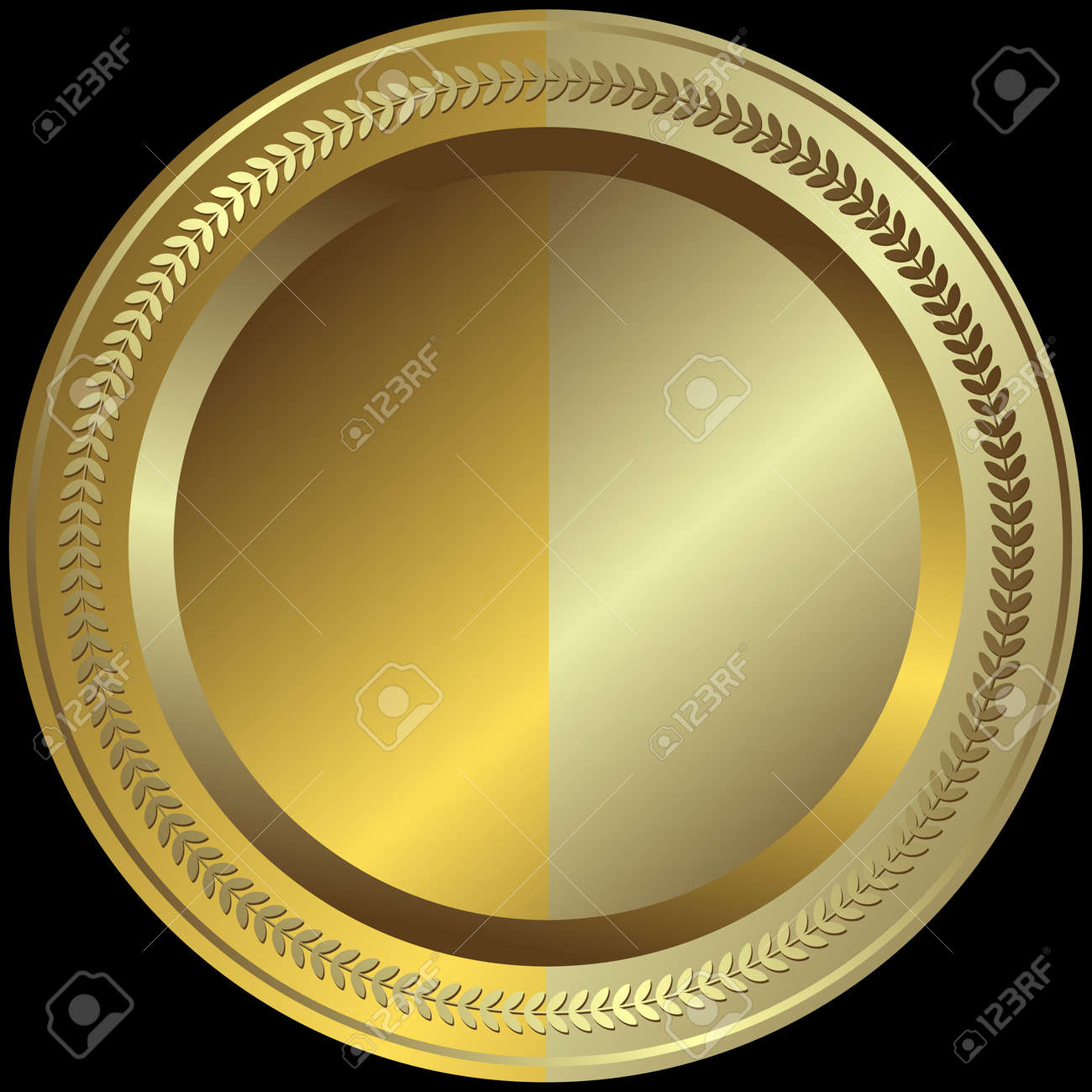 Golden and silvery plate with silvery ornament at the black background (vector) Stock Vector - 5968060