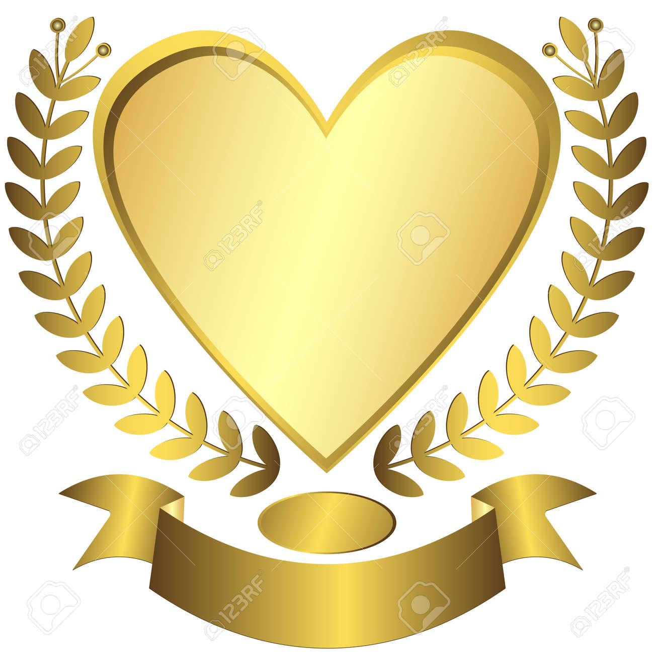 Gold award-heart with ribbon (vector) Stock Vector - 6139371