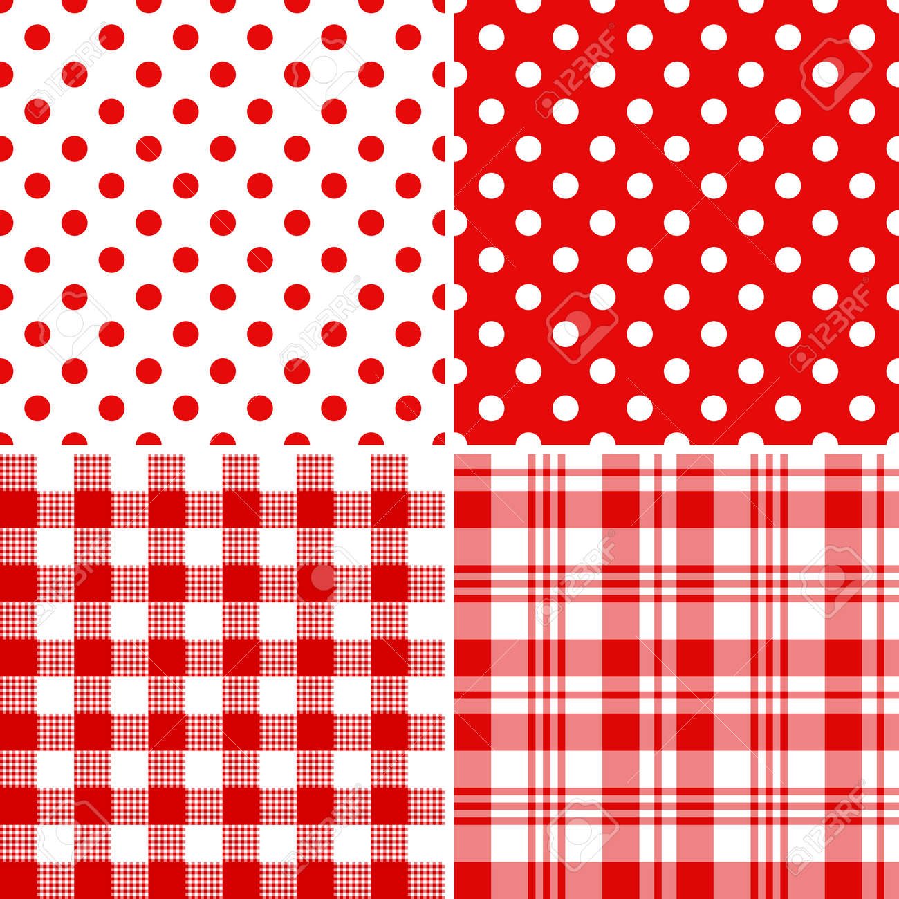 Set classical red-white seamless patterns - 6331775