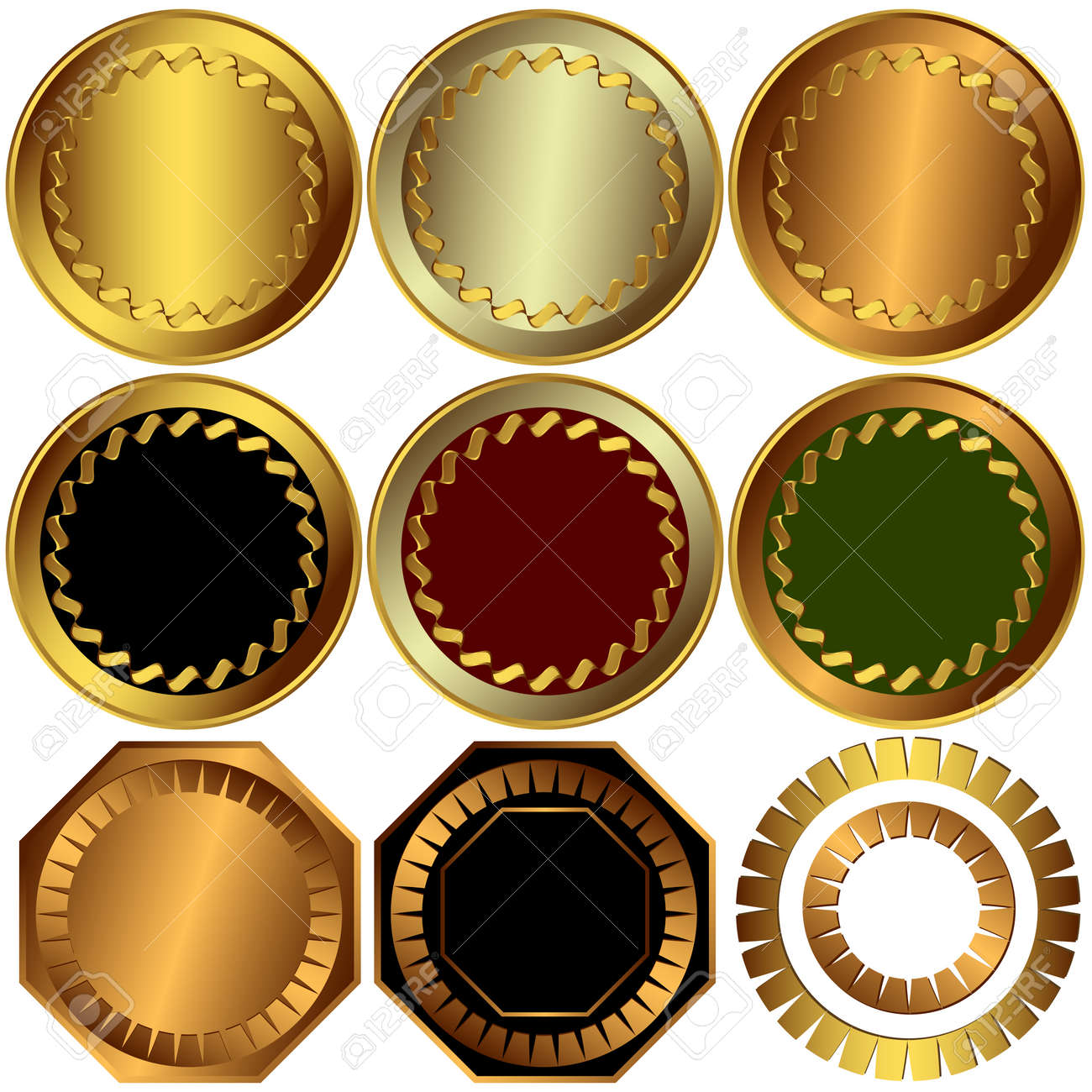Collection  gold, silver and bronze awards Stock Vector - 6398547