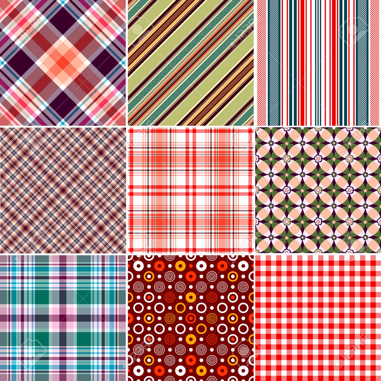 Set colorful geometric seamless patterns Stock Vector - 6723907