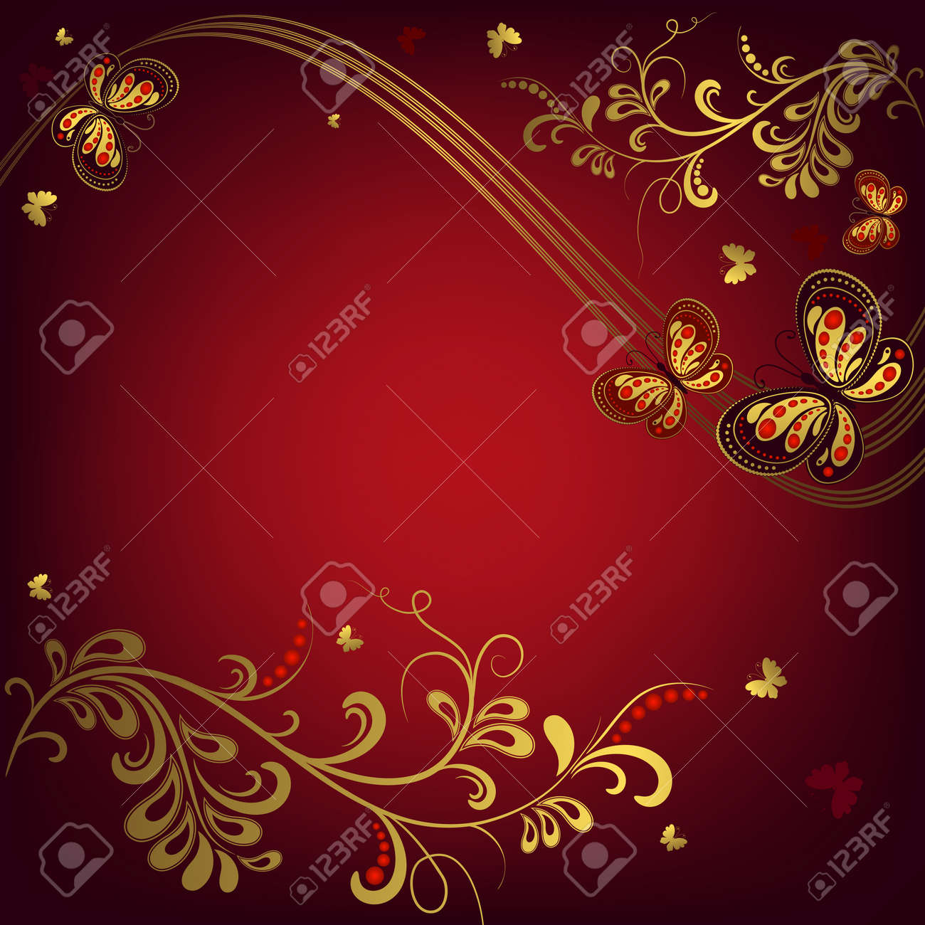 728cf3b3bf3 Decorative floral red and golden background with curls and butterflies Stock  Vector - 7030614