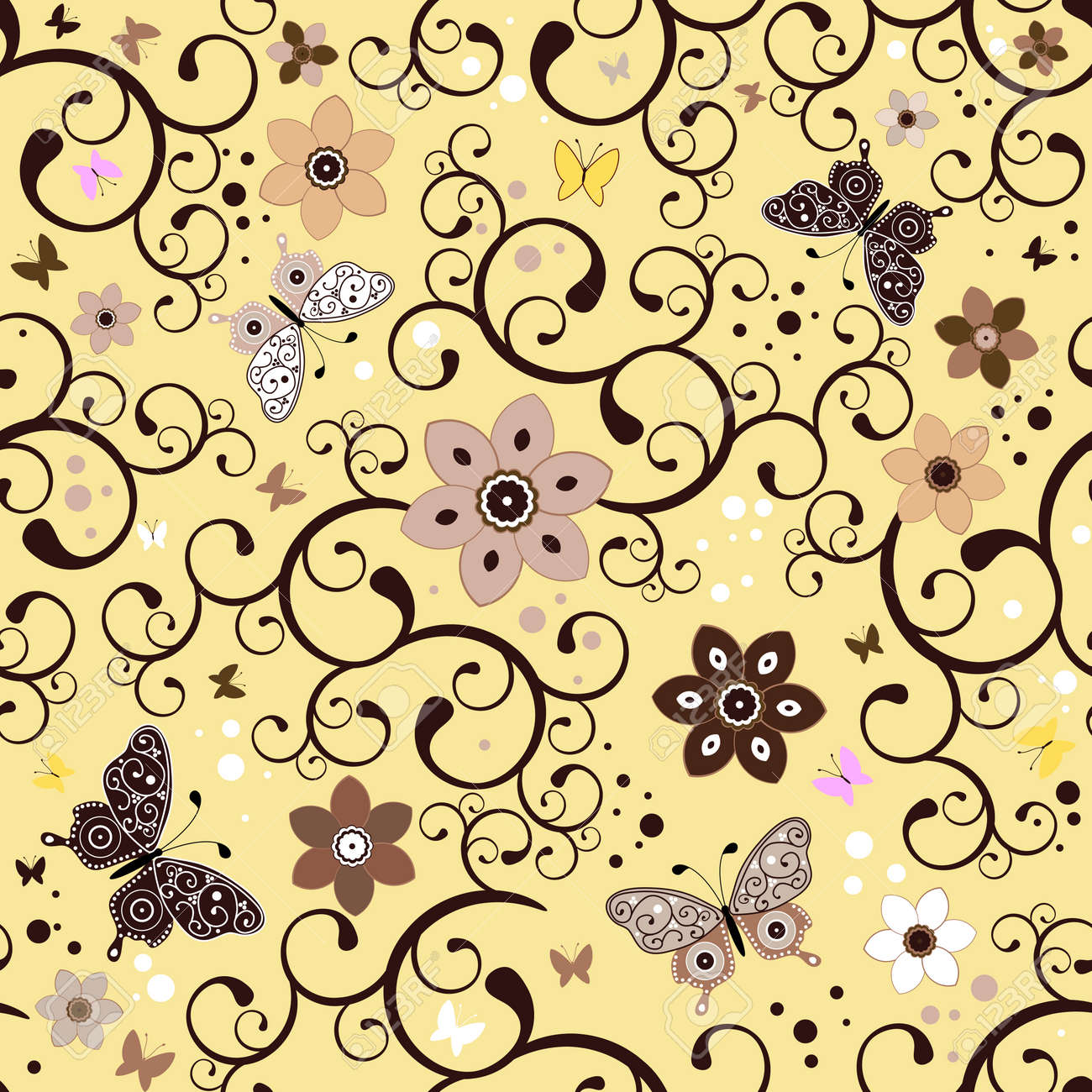Seamless Floral Yellow Pattern With Handwork Flowers And Butterflies