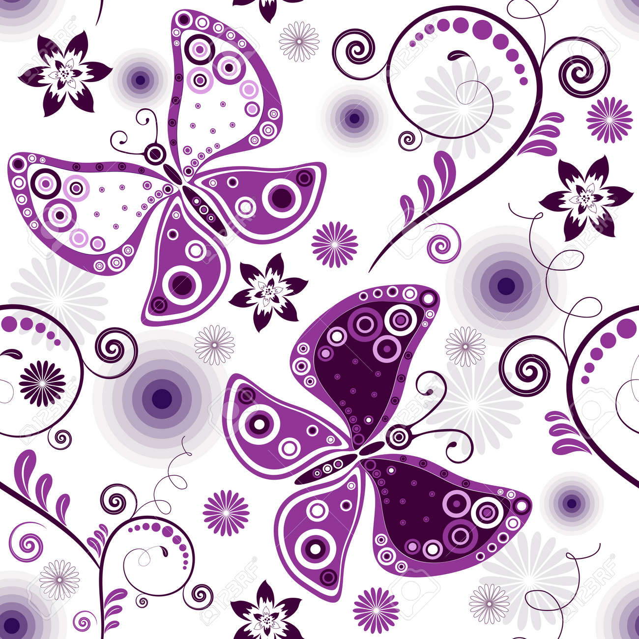 Repeating floral white pattern with violet flowers and butterflies Stock Vector - 7615616