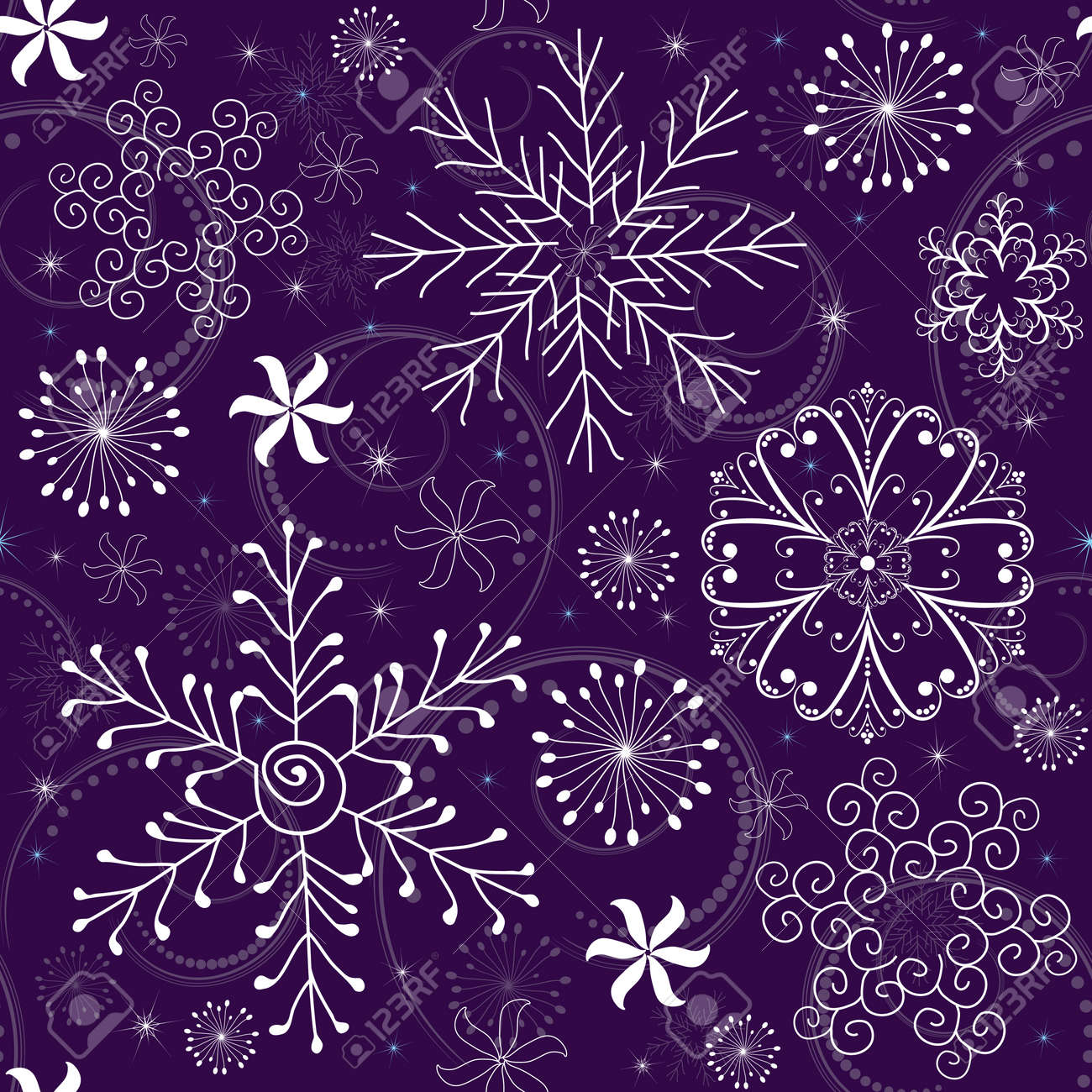 Seamless violet christmas pattern with white-blue snowflakes Stock Vector - 7703778