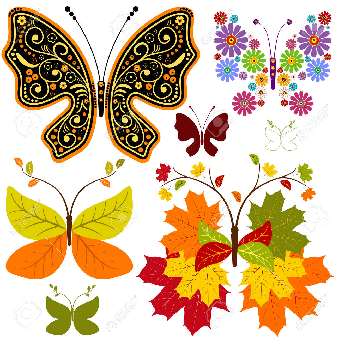 Set abstract floral butterflies for design on white (vector) Stock Vector - 7788910