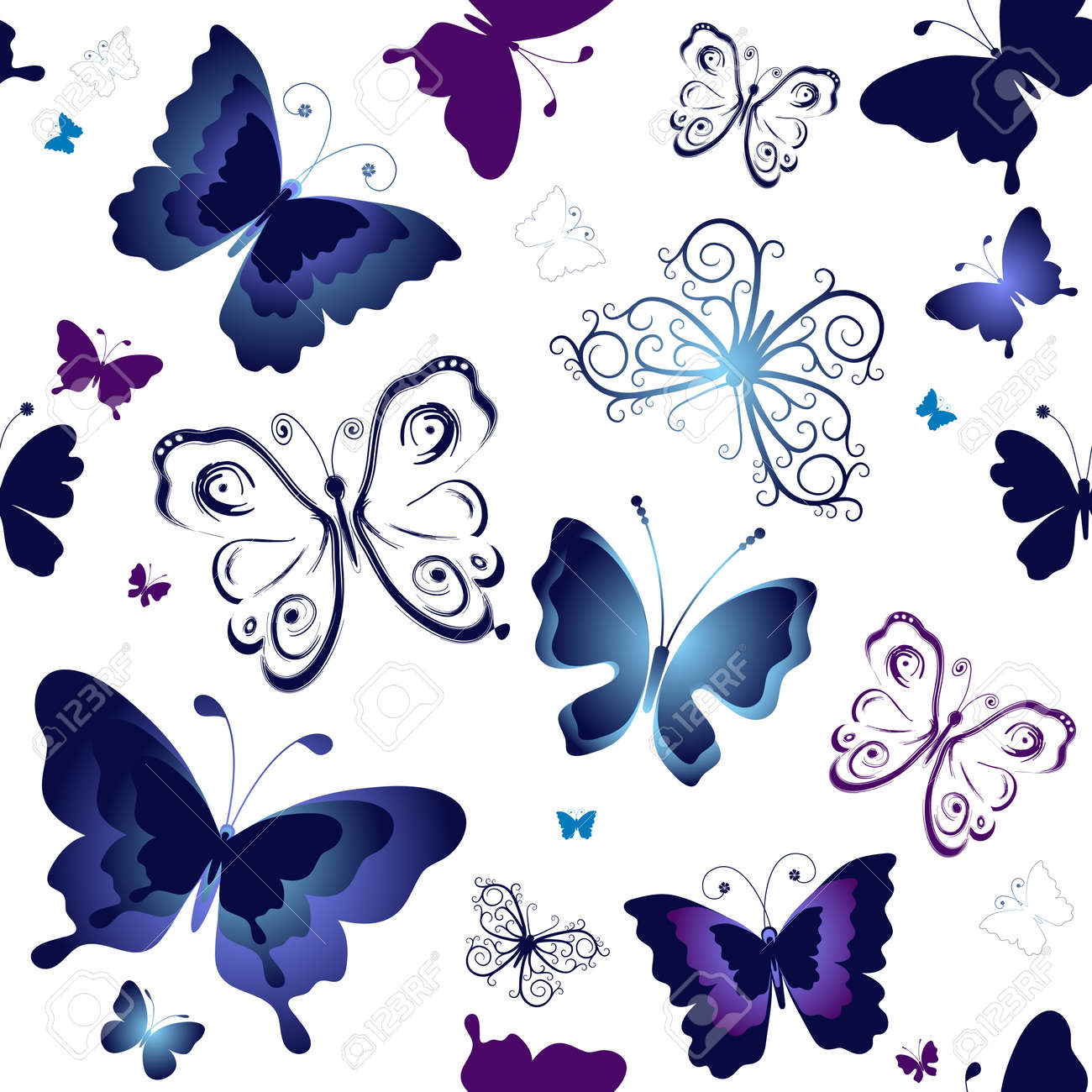 Seamless white pattern with blue and violet butterflies Stock Vector - 8286399