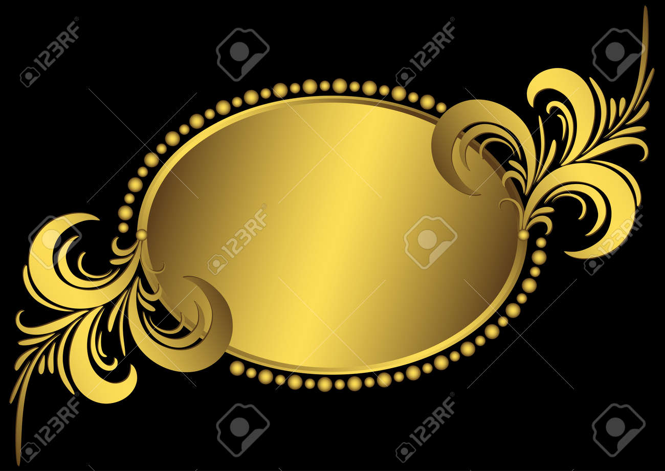 Oval golden frame with vintage curls and an ornament on black (vector) Stock Vector - 8482594