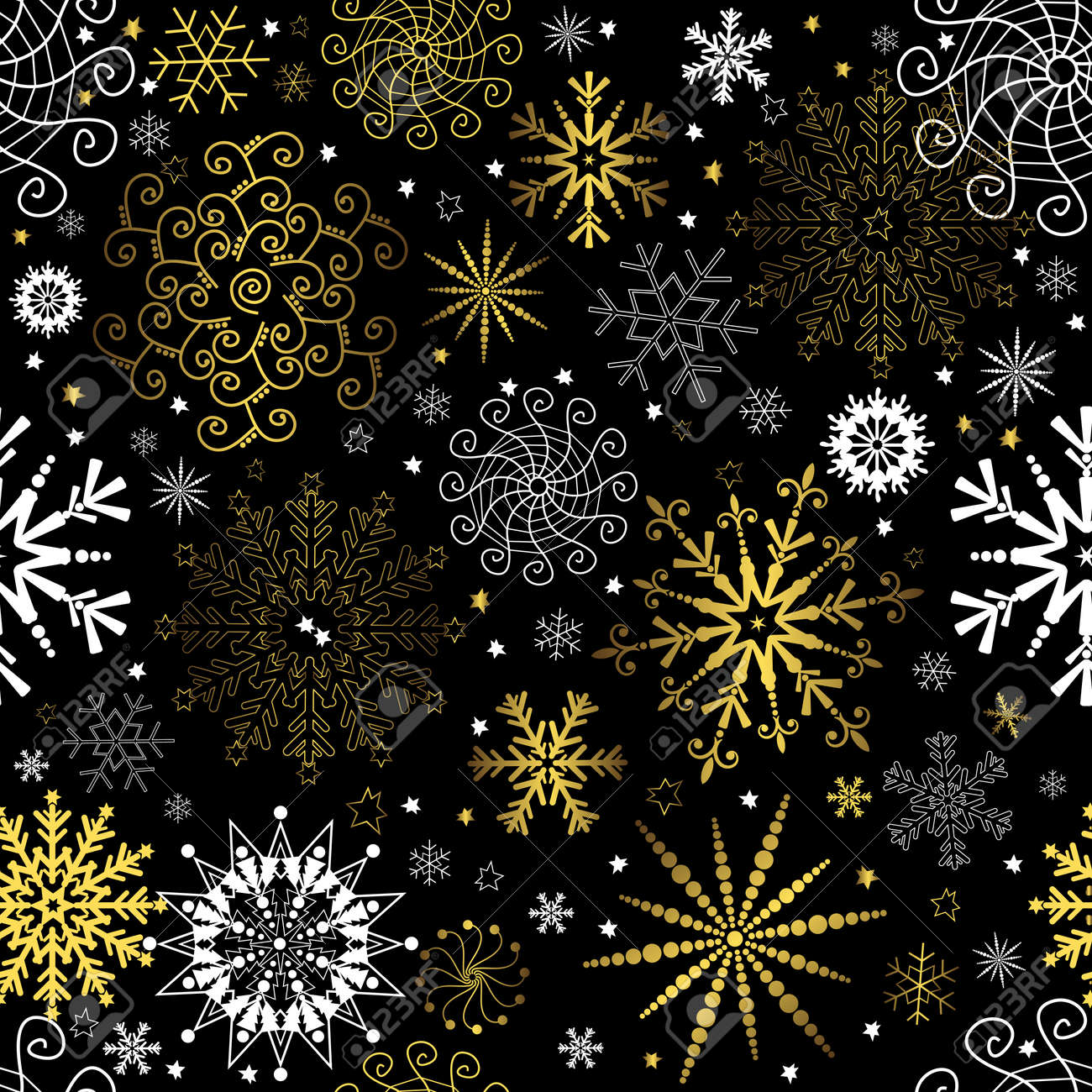 Seamless Black Christmas Wallpaper With White And Golden