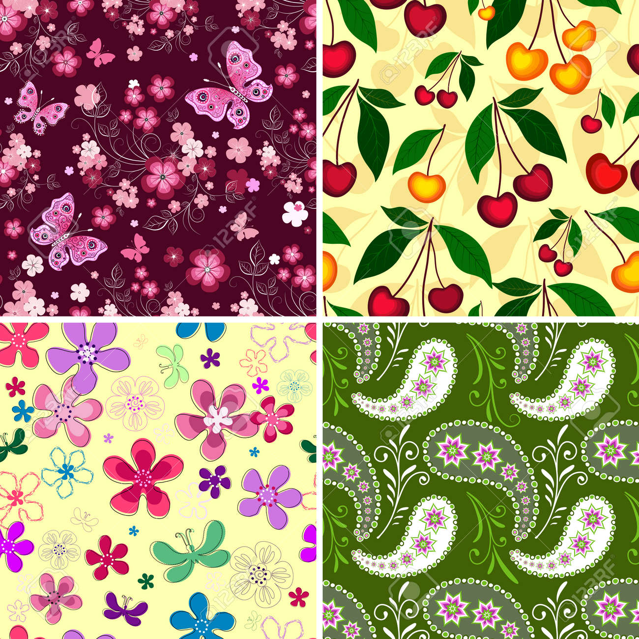 Set seamless spring vivid floral patterns Stock Vector - 8963985