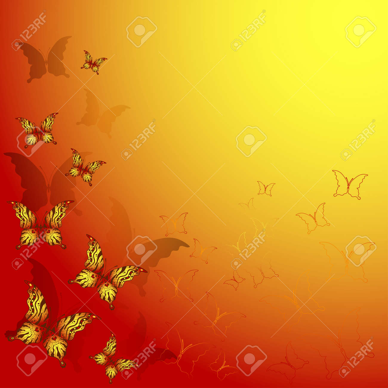Decorative Red And Yellow Frame With Butterflies Royalty Free ...