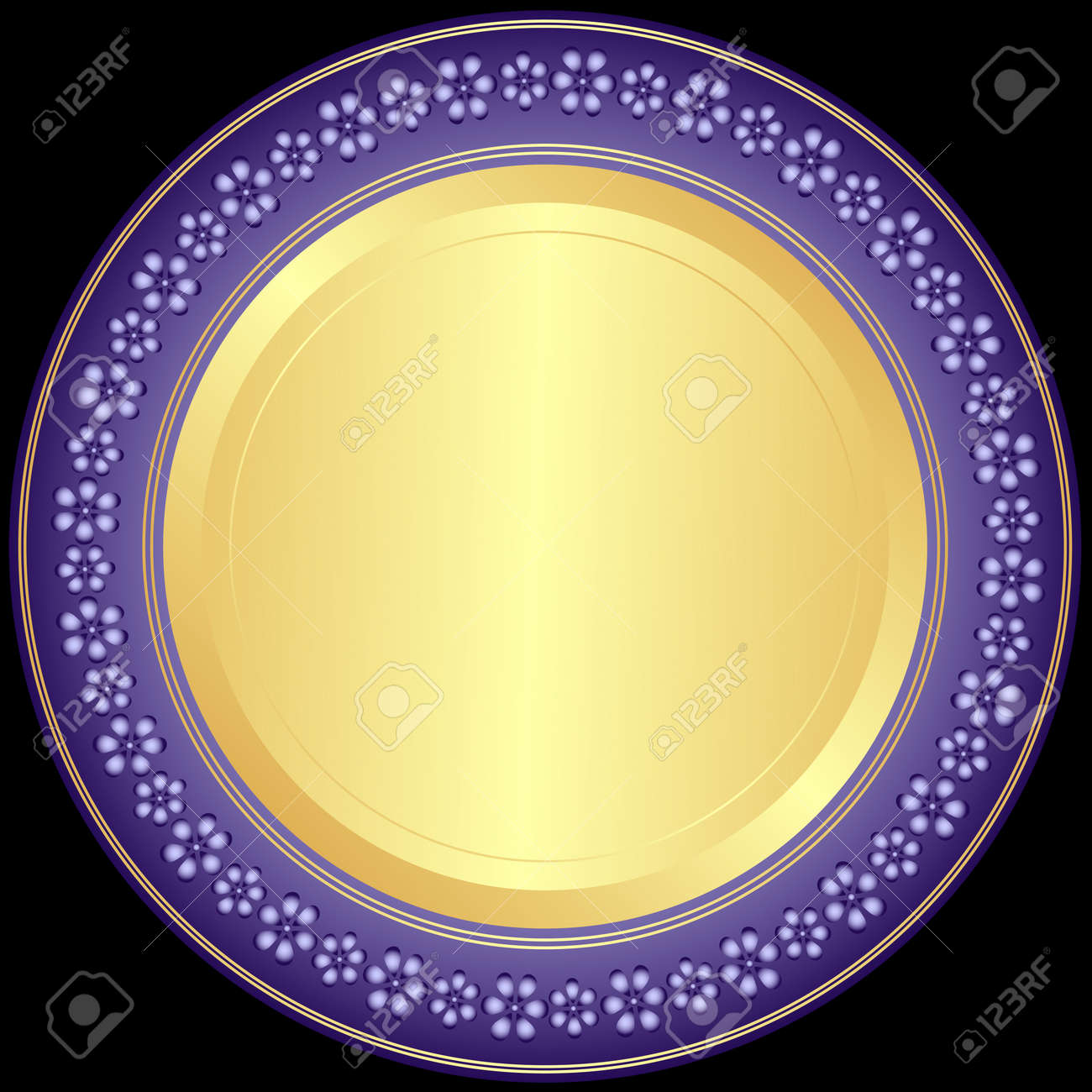 Violet-golden decorative plate with floral ornament on black Stock Vector - 9262422