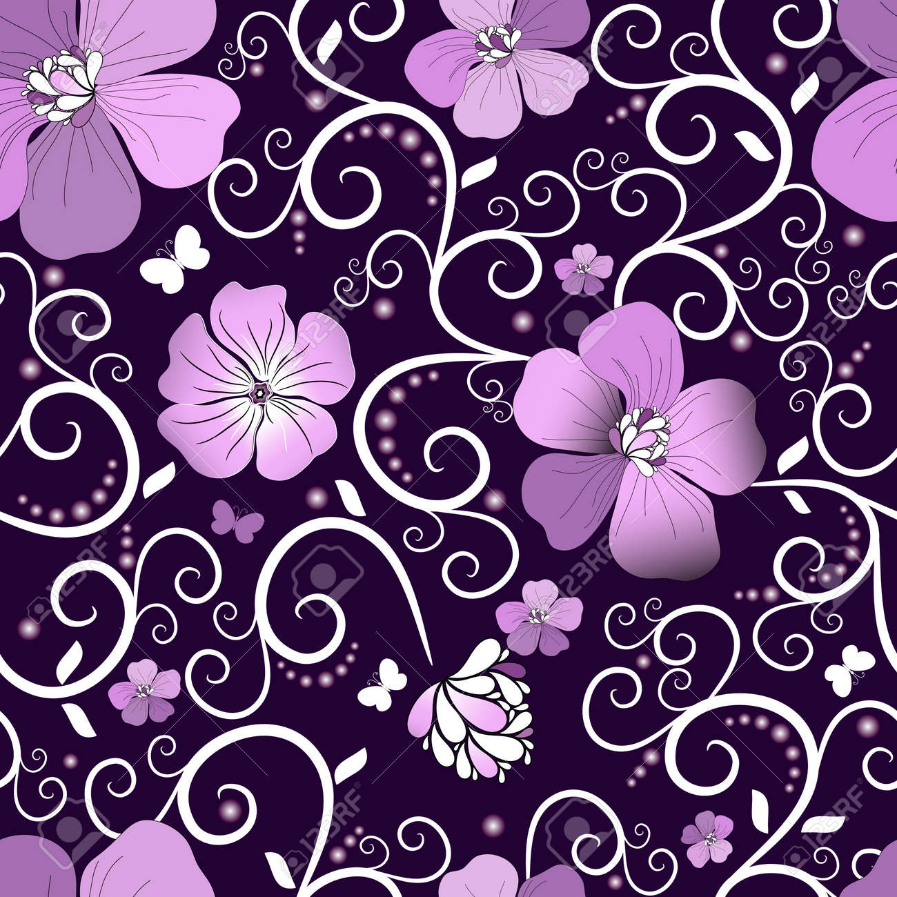 Pink butterfly vector background hd wallpapers pink butterfly vector - Dark Violet Seamless Floral Pattern With Pink Flowers And Butterflies Vector Stock Vector