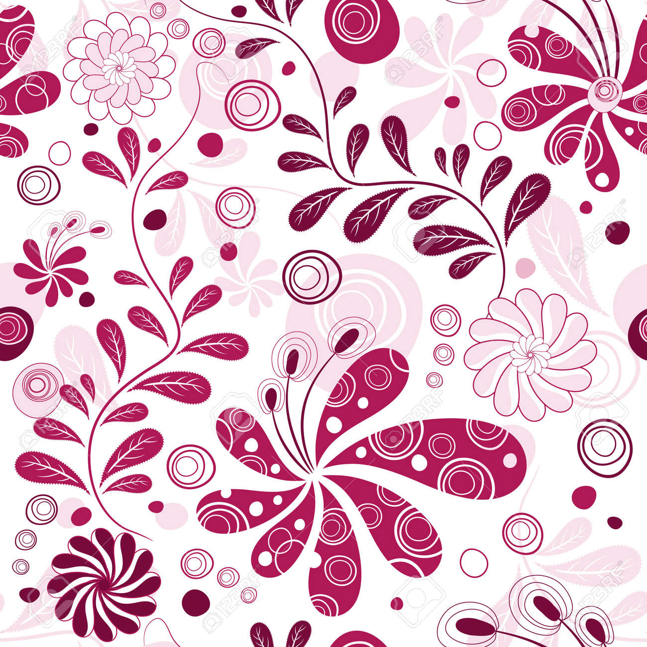 White And Purple Effortless Floral Wallpaper With Flowers Vector