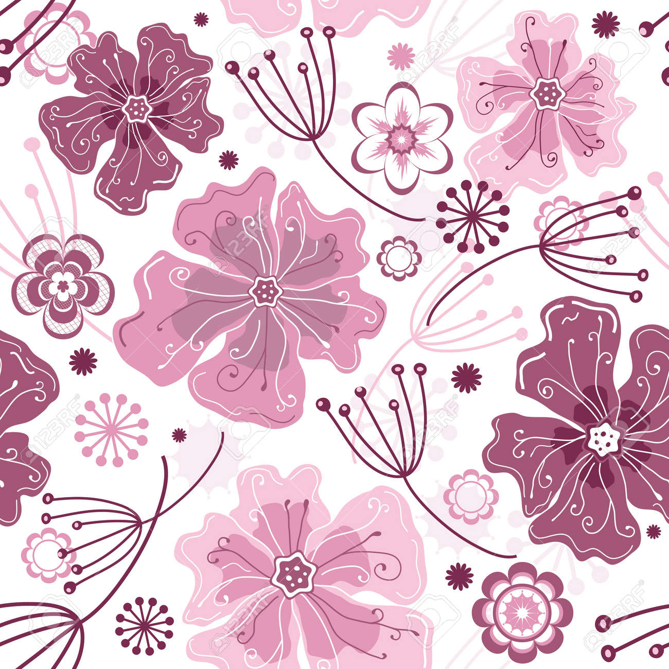 White and pink seamless floral pattern with pastel flowers Stock Vector - 10625701