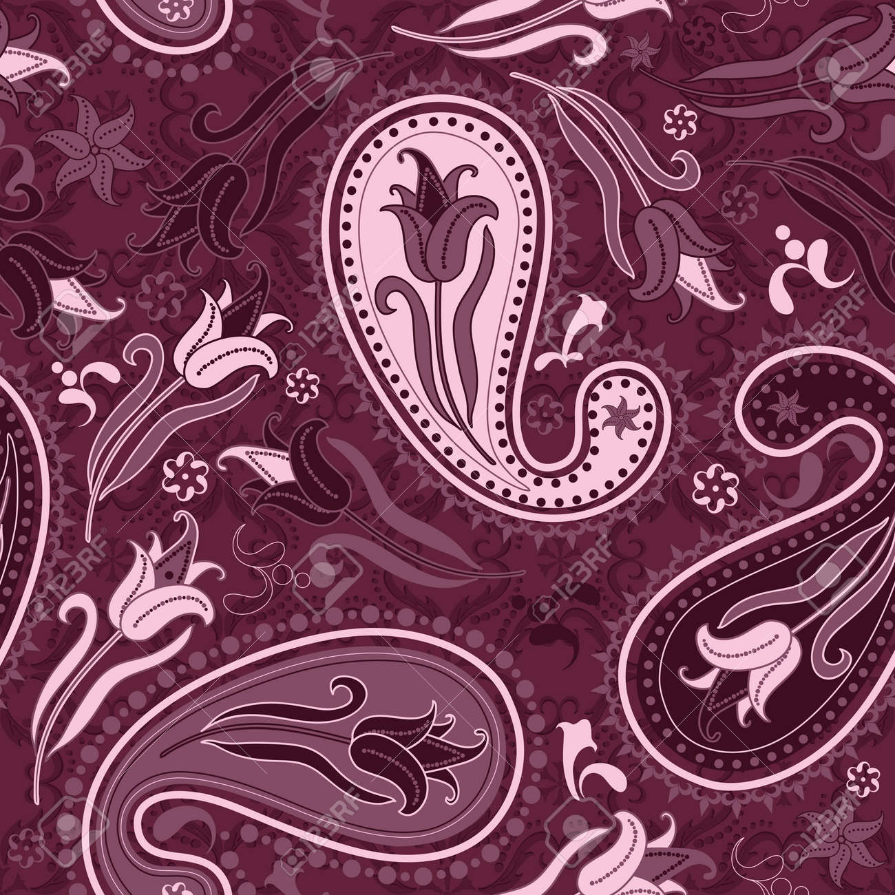 Dark pink  seamless floral pattern with paisley and tulips (vector) Stock Vector - 10939078