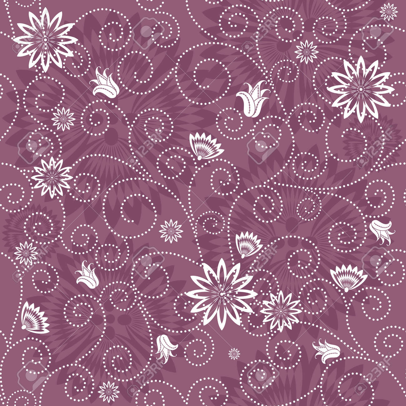 Gentle violet seamless floral pattern with white flowers (vector) Stock Vector - 10939082