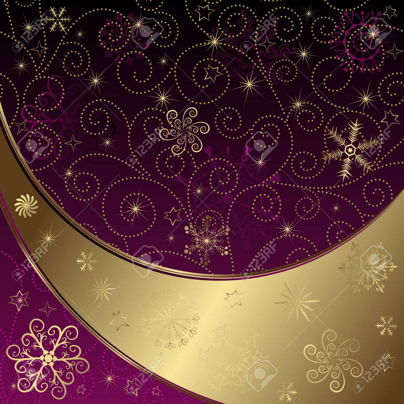 Christmas gold and purple frame with curls and snowflakes and stars Stock Vector - 11232074