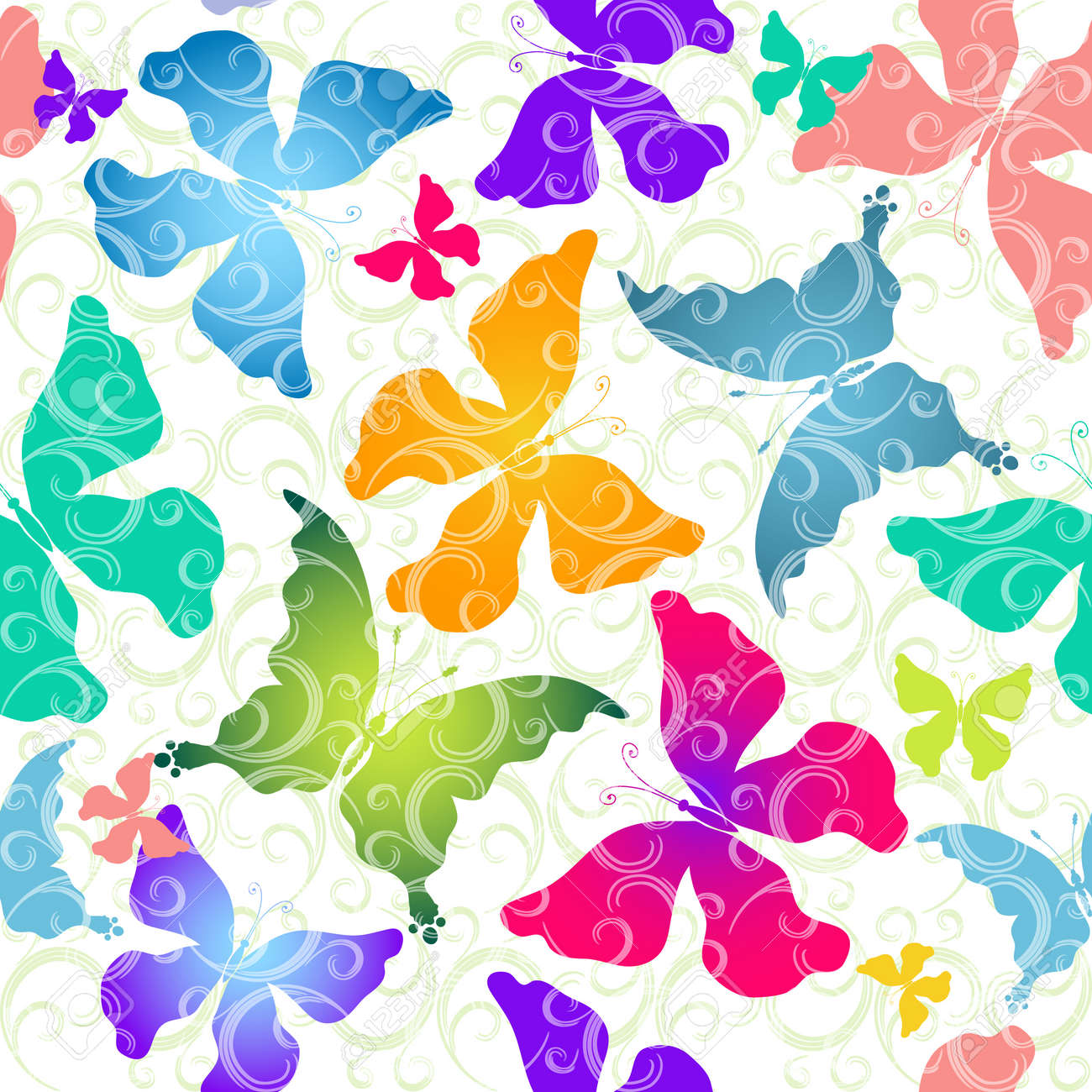Seamless pattern of colorful butterflies against the background of scrollwork Stock Vector - 11232075
