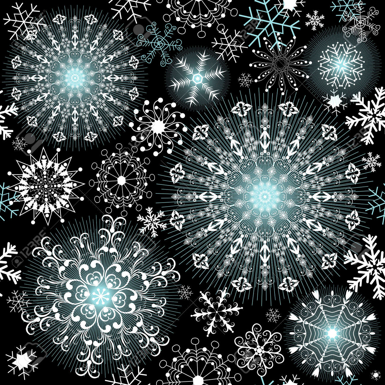 Christmas dark repeating pattern with filigree snowflakes  (vector) Stock Vector - 11675177