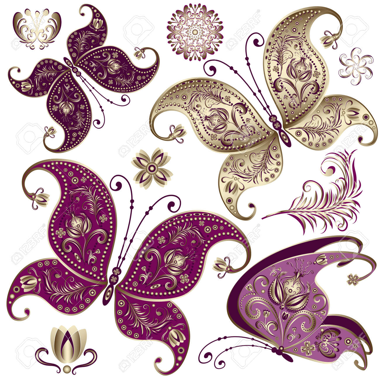 set purple and gold vintage butterflies and flowers vector