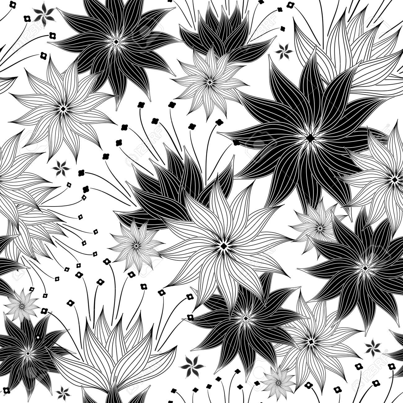 Seamless White And Black Floral Pattern With Vintage Flowers Stock Vector
