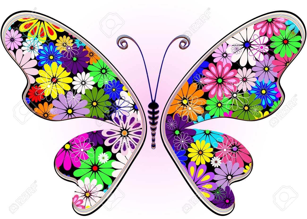 Vivid fantasy floral abstract butterfly for design on white-pink (vector) Stock Vector - 13379381
