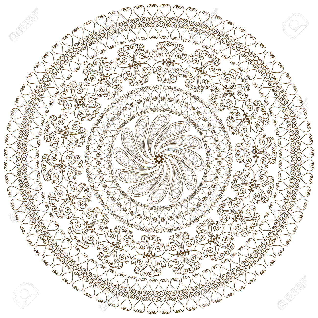 Decorative round frame with vintage curls on white background (vector) Stock Vector - 15908599