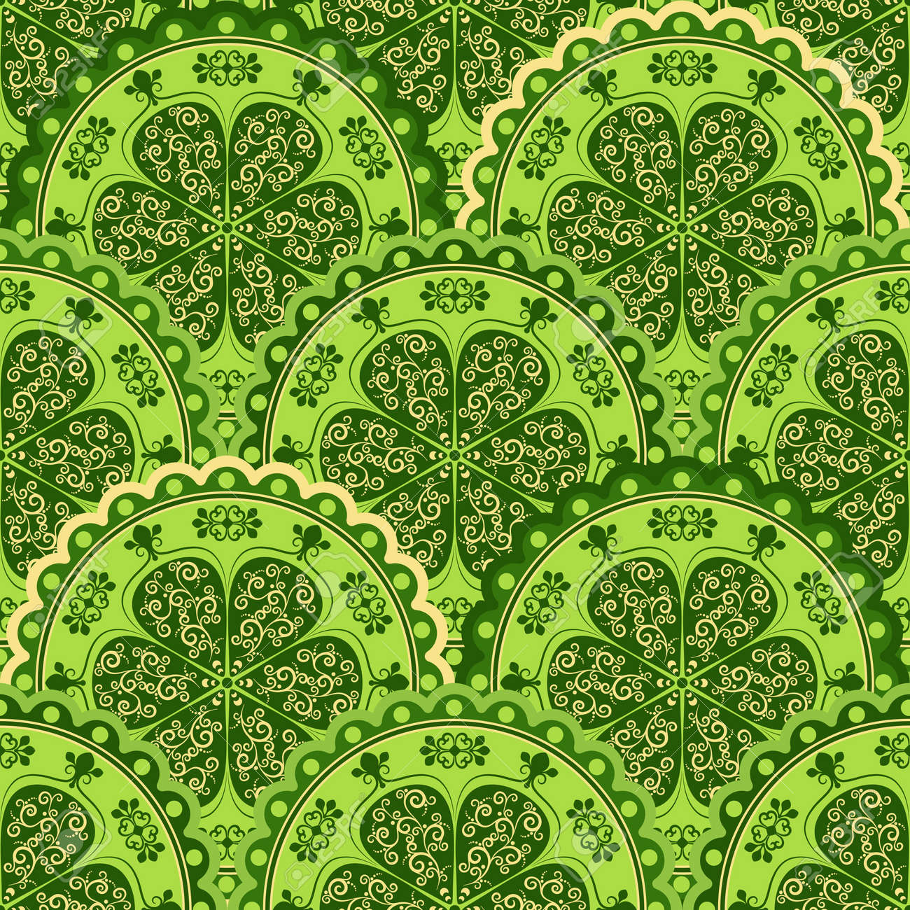Green and yellow vintage seamless pattern with floral circles Stock Vector - 15967159