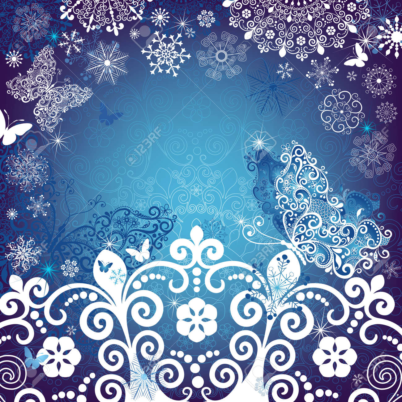 Christmas White And Blue Frame With Snowflakes And Snow Butterfly ...