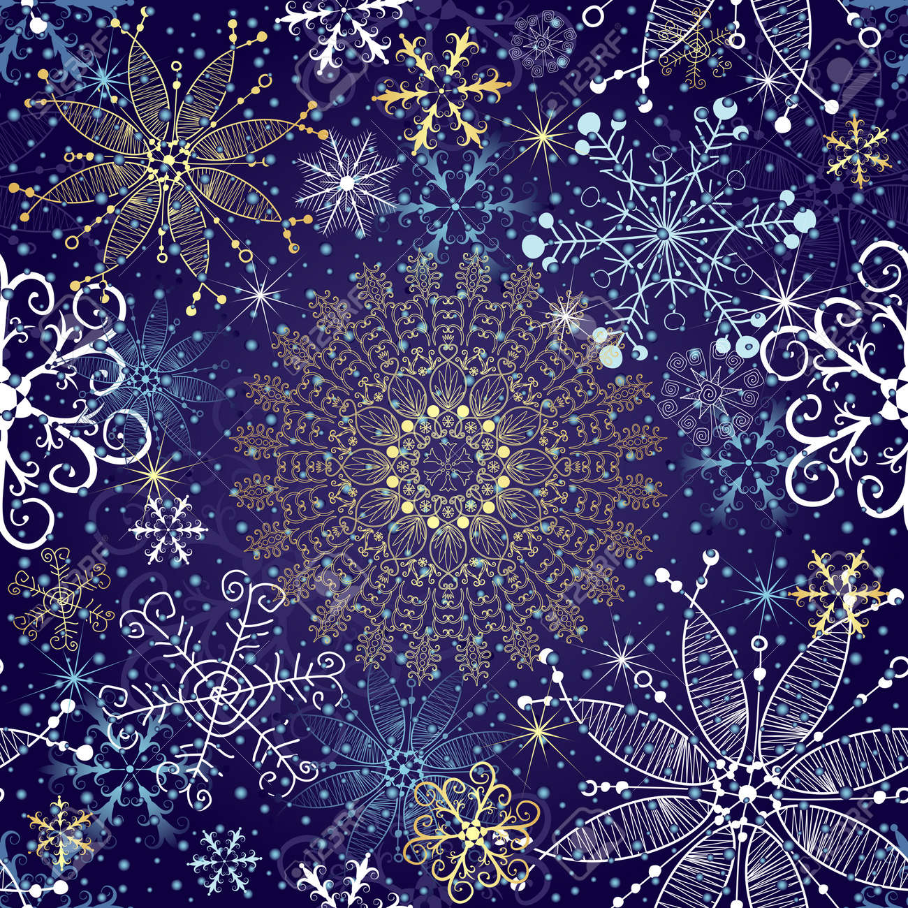 christmas dark blue seamless pattern with gold and white vintage