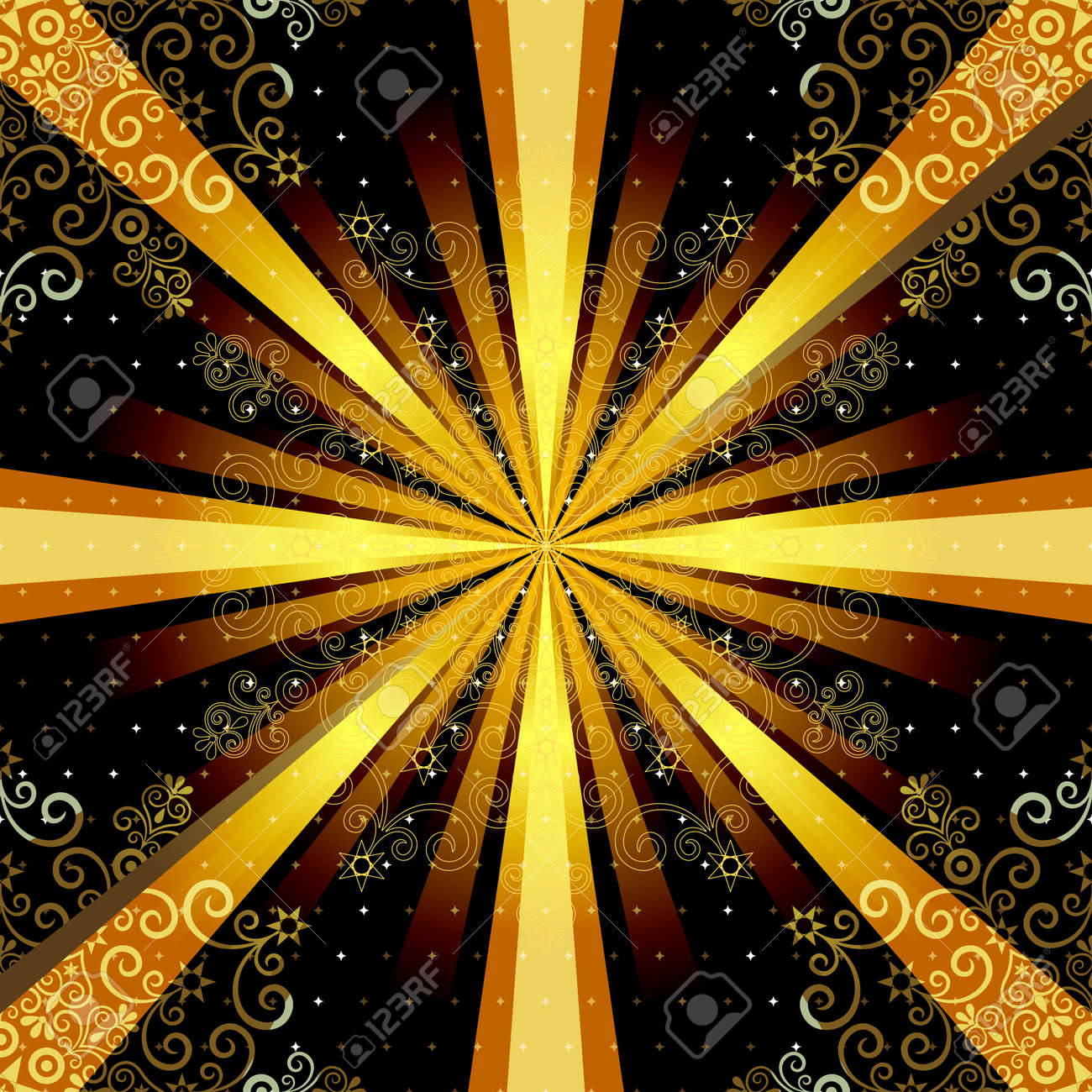 vector vintage seamless pattern with mandala and gold rays