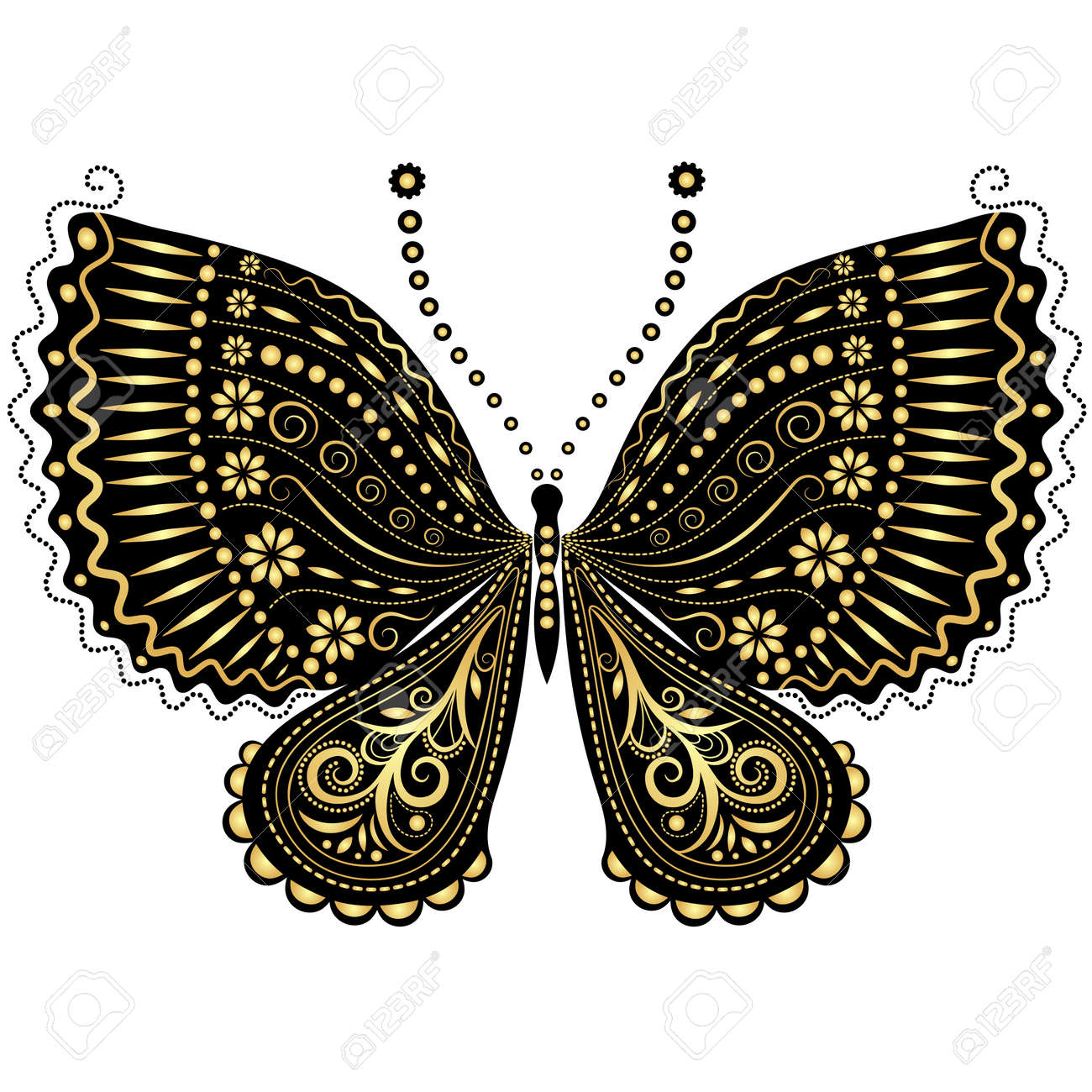 decorative fantasy gold and black vintage butterfly on white