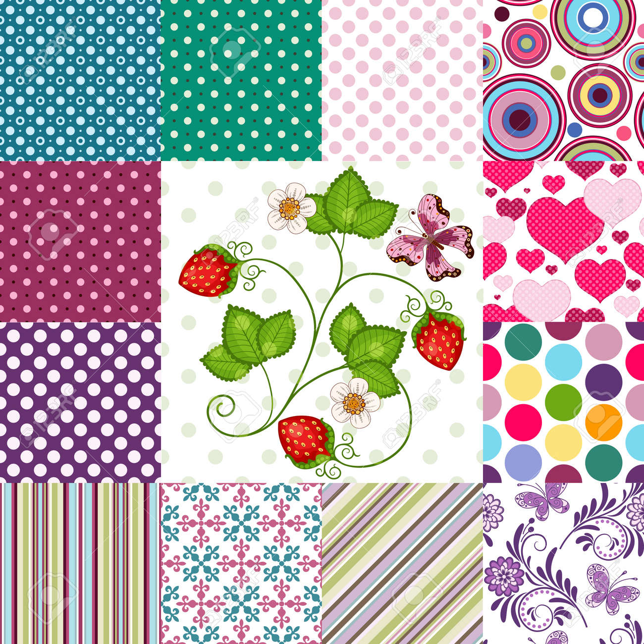 Collection seamless colorful patterns with polka dots and strips and floral (vector EPS10) Stock Vector - 18786523