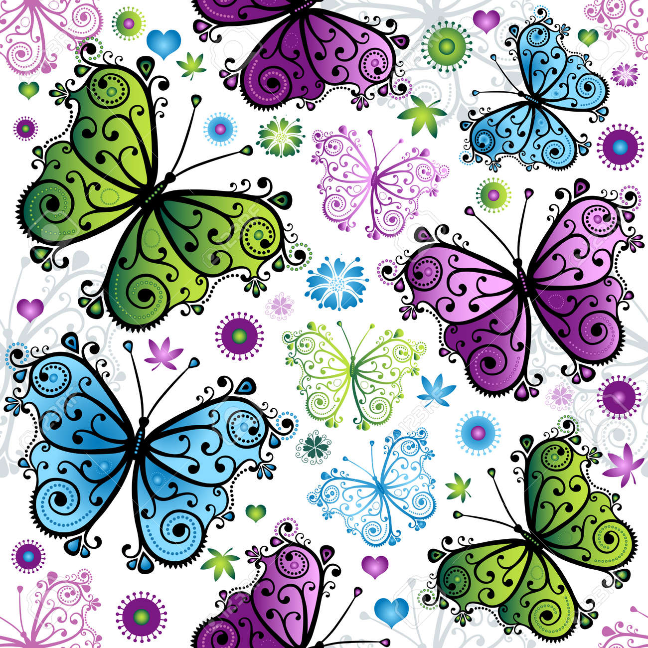 Seamless spring bright pattern with colorful butterflies (vector) Stock Vector - 18984577